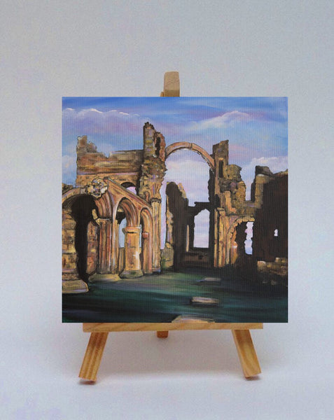 Ceramic tile with easel Lindisfarne Priory
