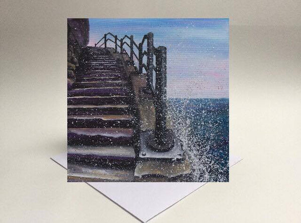 Greetings card Cat and Dog stairs Sunderland