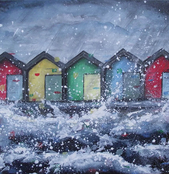 Original Canvas Painting Blyth Beach Huts Emilywardart