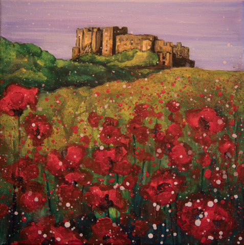 Limited edition print Bamburgh Castle with poppies Northumberland