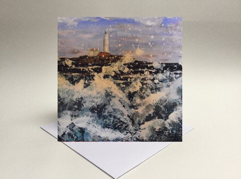 Greetings card Wild waves at St Mary's