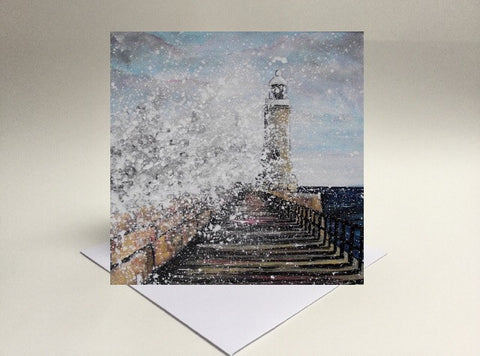 Greetings card Tynemouth Pier