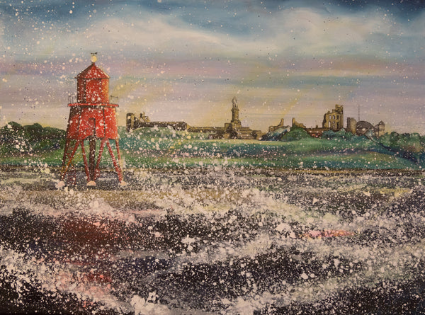 Large canvas print Herd Groyne River Tyne