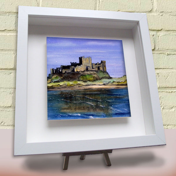 Framed ceramic tile Bamburgh Castle