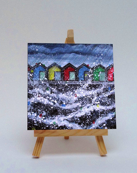 Ceramic tile with easel Blyth Beach Huts