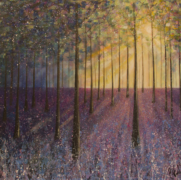 Original canvas painting Bluebell woods