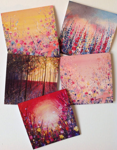 Pack of 5 Greeting Cards breast cancer awarness