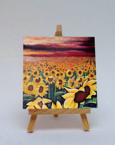 Ceramic tile with easel Sunflowers