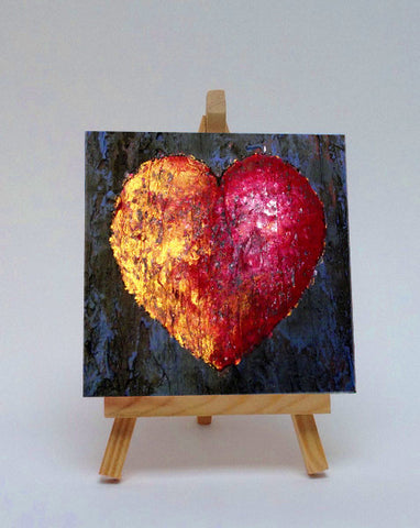 Ceramic tile with easel Love Gold