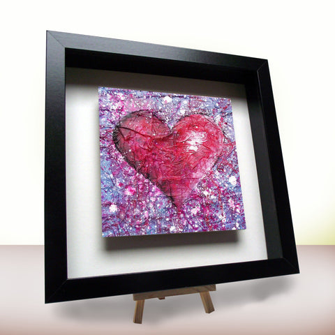 Love Purple framed ceramic tile black frame