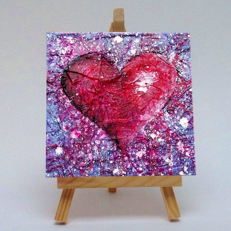 Ceramic tile with easel Love Purple