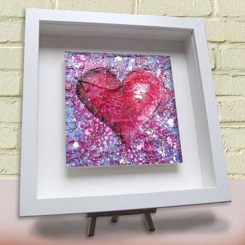 Love Purple framed ceramic tile white frame