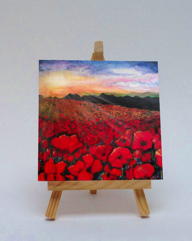 Ceramic tile with easel Poppies