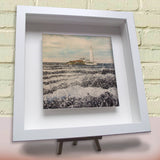 Framed ceramic tile St Mary's Lighthouse Whitley Bay