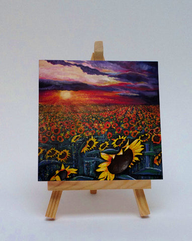 Ceramic tile with easel Sun on the Sunflowers