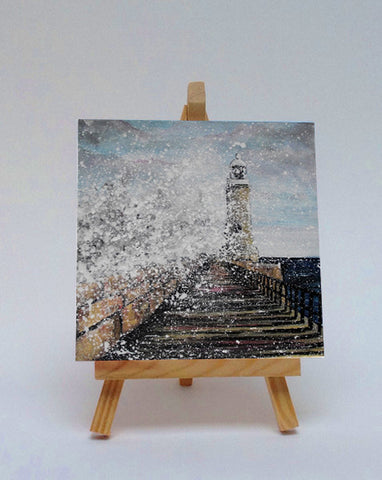 Ceramic tile with easel Tynemouth Pier