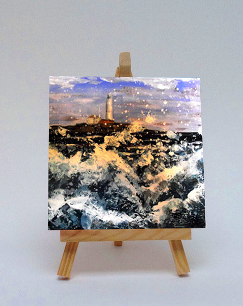 Ceramic tile with easel Wild waves at St Mary's