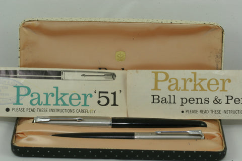 Parker 51 Aerometric Black Pen/Pencil Set Completely Restored & Working