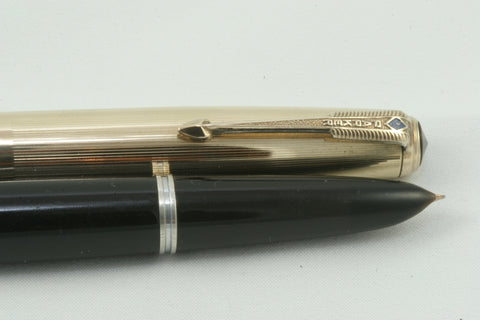 Parker 51 Vacumatic Black - Gold Filled Cap - Fully Restored And Working