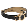 House of Harlow 1960 Gold Tone Sunburst with Leather Wrap Bracelet