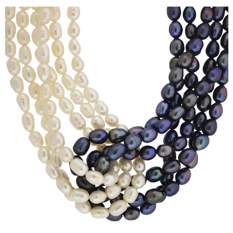 Multi-Strand Grey and White Freshwater Cultured Pearl Twisted Necklace