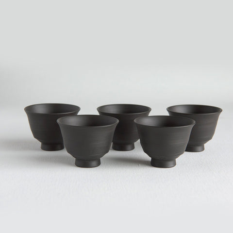 Tokoname Kuro Hakeme Teacup Set of 5