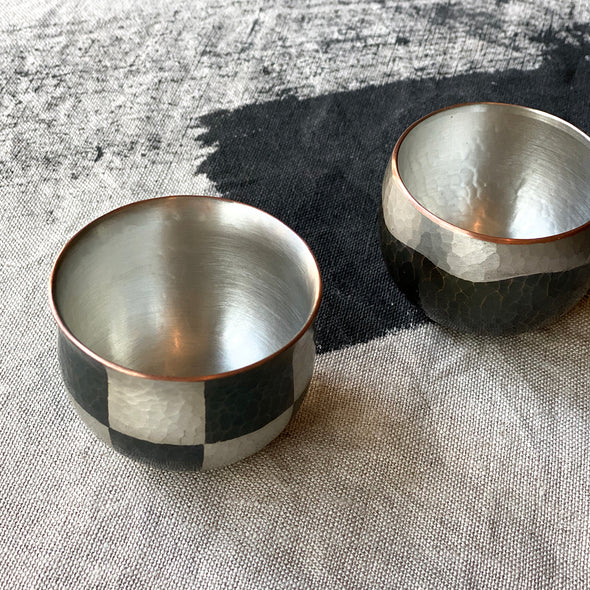 Ichimatsu Checkered Sake Cup Tsuiki Copperware