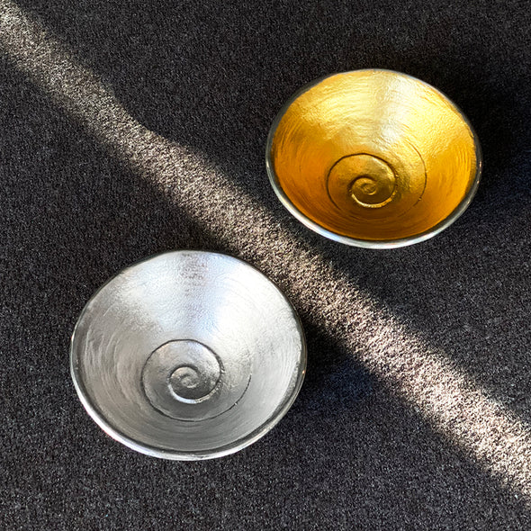 Uzumon Pewter Sake Cup Gold Leaf
