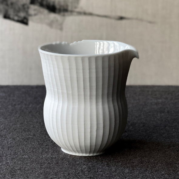 Mushikui Ridged Porcelain Pitcher Matte White