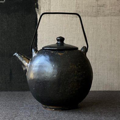 Iron Black Glaze Teapot Copper Handle A1