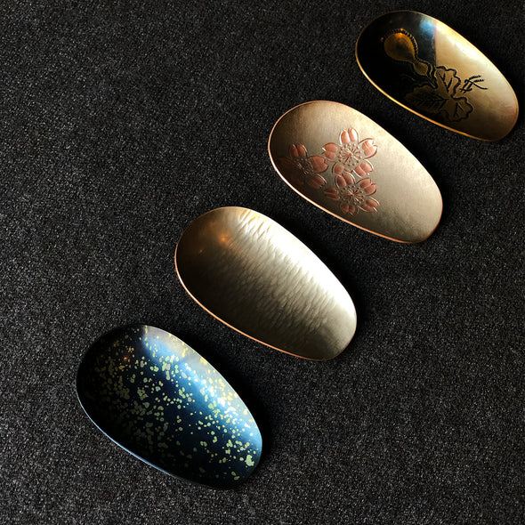 Hand-Hammered Tea Scoops Speckled Blue Tsuiki Copperware