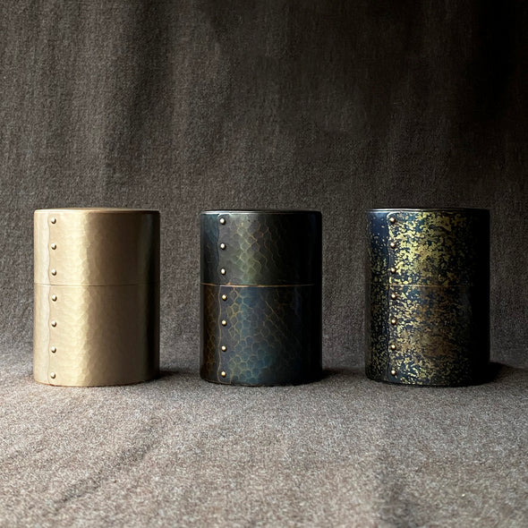 Hand-Hammered Canisters Speckled Blue Tsuiki Copperware