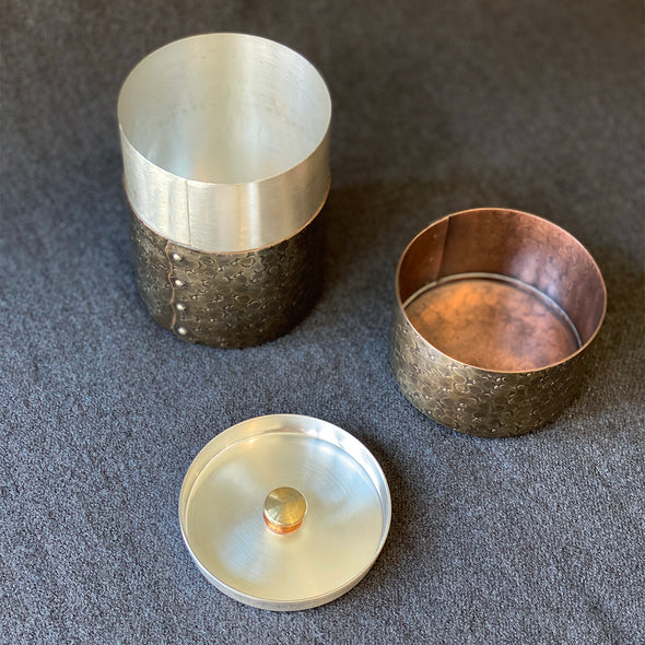 Hand-Hammered Canisters Smokey Silver Tsuiki Copperware