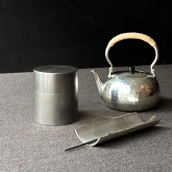 Seamless Pewter Antique Finish Matcha Natsume Canister