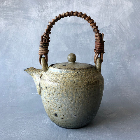 Mashiko Crackle Glaze Vine Handle Teapot