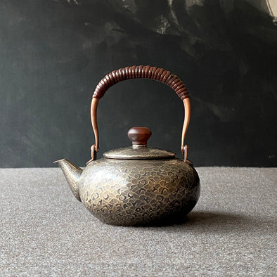 Smokey Silver Flat Teapot Small Tsuiki Copperware