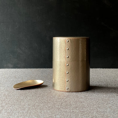 Hand-Hammered Canister and Scoop Set Silver Tsuiki Copperware