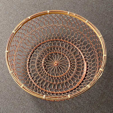 Hand Woven Copper Basket with Bamboo Trim
