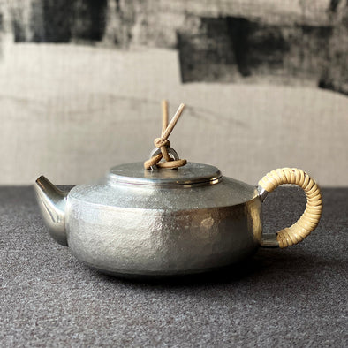 Flat Spinning Top Motif Pewter Teapot