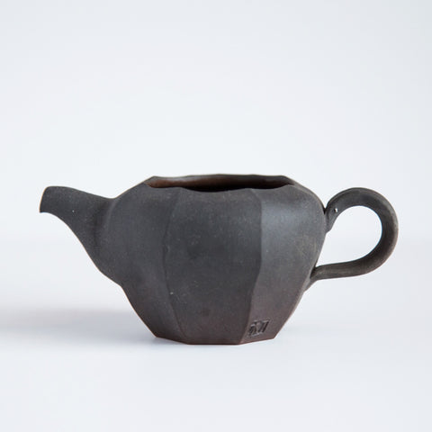 Jeju Onggi Clay Black Pitcher With Carved Base