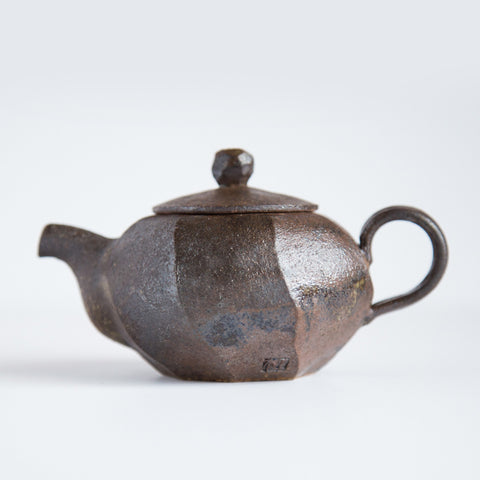 Dark Brown Carved Teapot