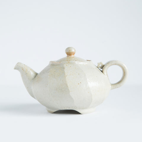 Porcelain Carved Teapot With Flower Detail