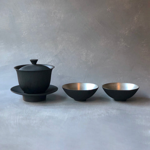 Arita Porcelain Black Slate Shinogi Gaiwan Set
