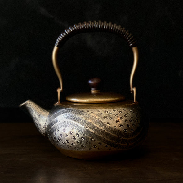 Crescent Wave Flat Teapot Tsuiki Copperware