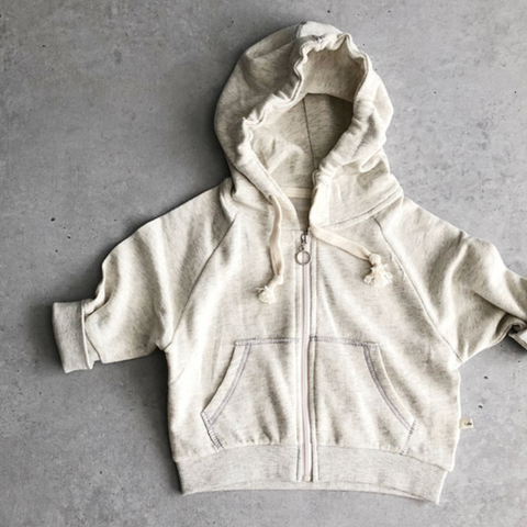 LALA bluse / Point zip-up hood oatmeal