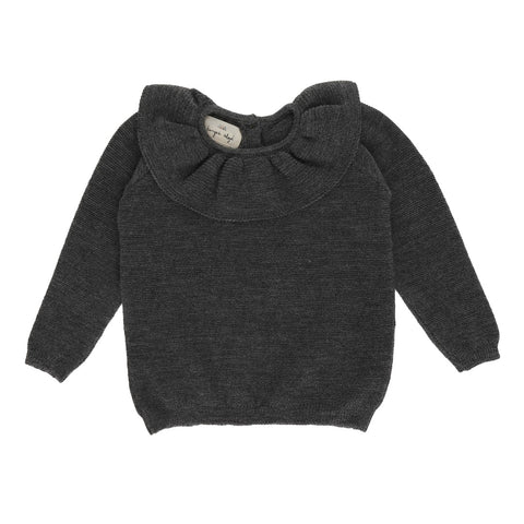 KONGES SLØJD uld strikbluse / Fiol wool DARK GREY