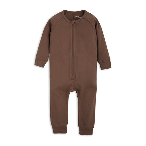 MINI RODINI heldragt / Solid rib brown