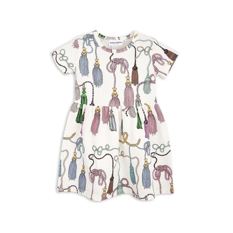 MINI RODINI kjole / Tassels ss dress off white