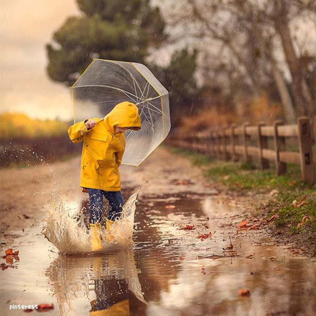 Playing in the rain. Create a splash through free play and learning.