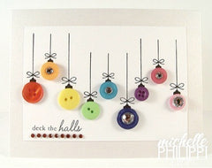 Christmas cards made with different colored buttons - Shumee